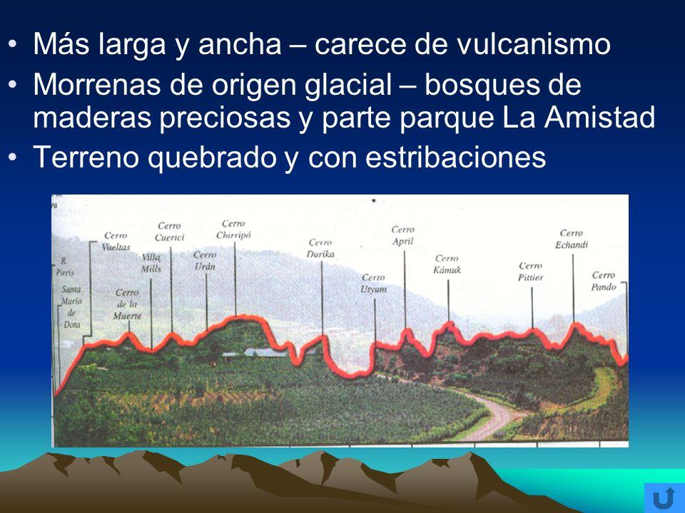 Más larga y ancha – carece de vulcanismo