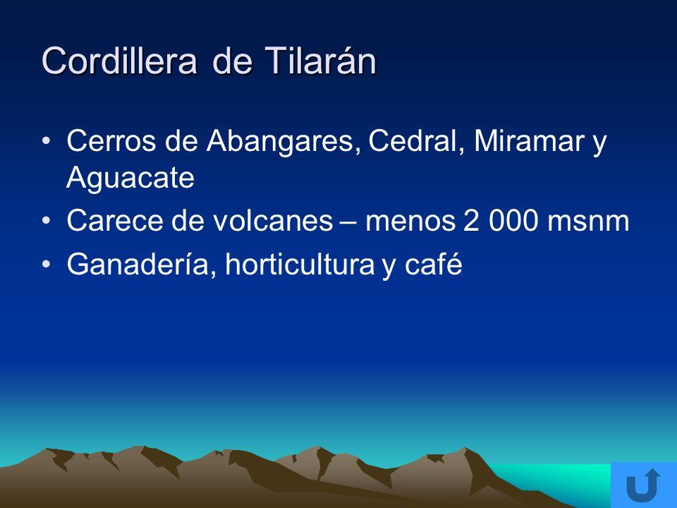 Cordillera de Tilarán Cerros de Abangares, Cedral, Miramar y Aguacate