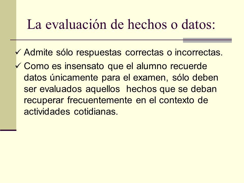 La evaluación de hechos o datos: