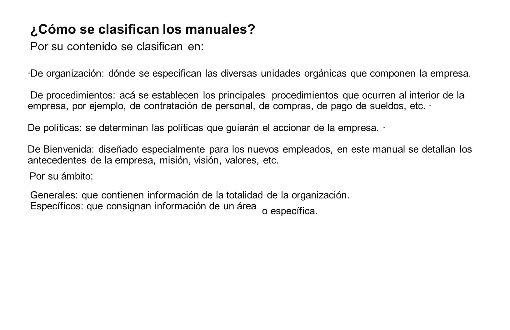 ¿Cómo se clasifican los manuales