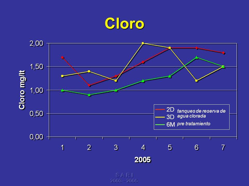 Cloro 2D 3D 6M S A R I tanques de reserva de agua clorada