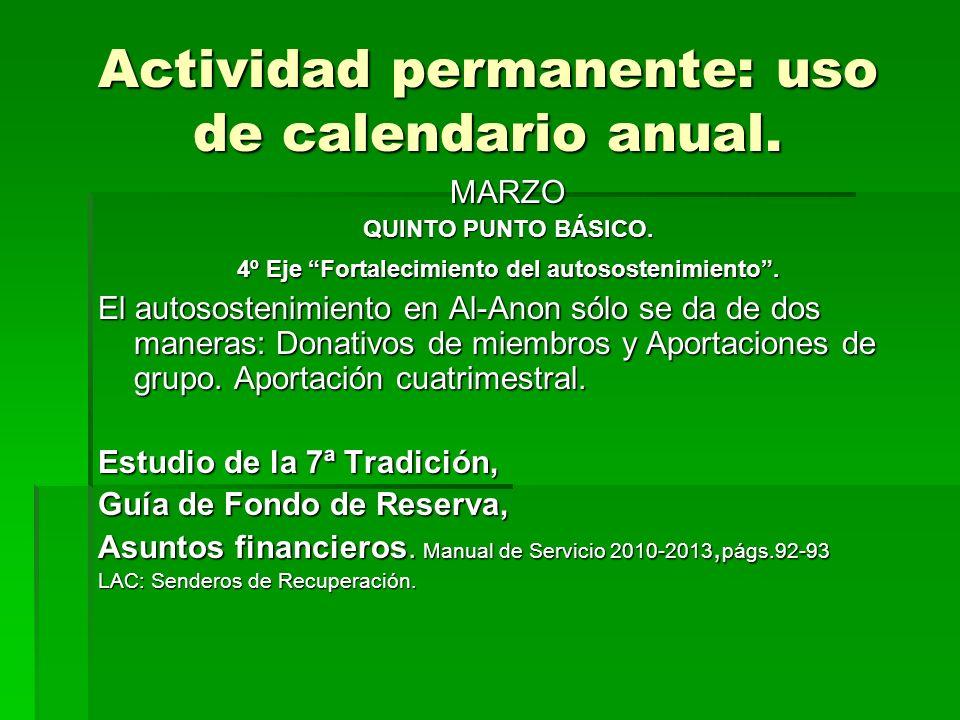 Actividad permanente: uso de calendario anual.