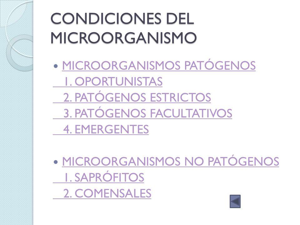 CONDICIONES DEL MICROORGANISMO