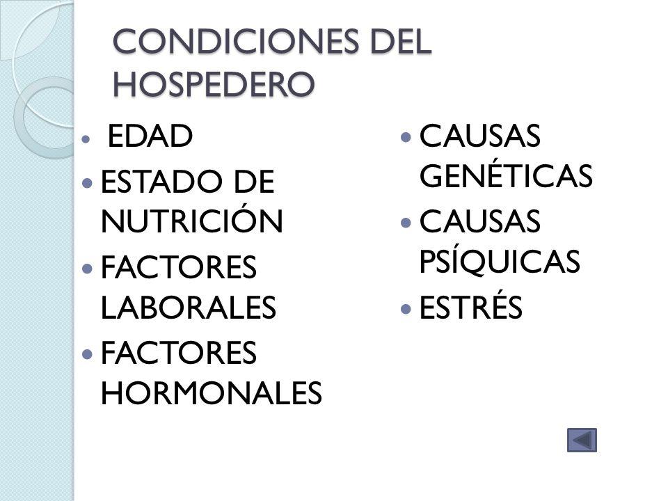 CONDICIONES DEL HOSPEDERO