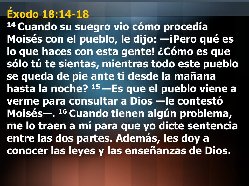 Éxodo 18:14-18 14 Cuando su suegro vio cómo procedía Moisés con el pueblo, le dijo: —¡Pero qué es lo que haces con esta gente.