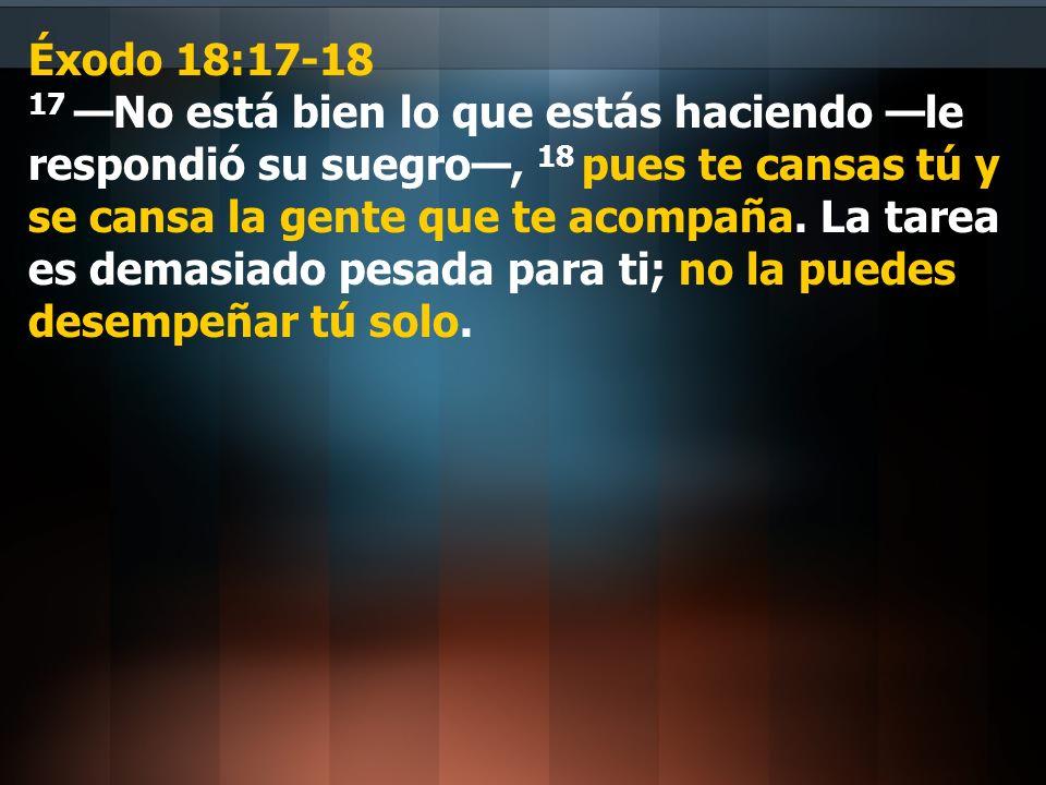 Éxodo 18:17-18 17 —No está bien lo que estás haciendo —le respondió su suegro—, 18 pues te cansas tú y se cansa la gente que te acompaña.