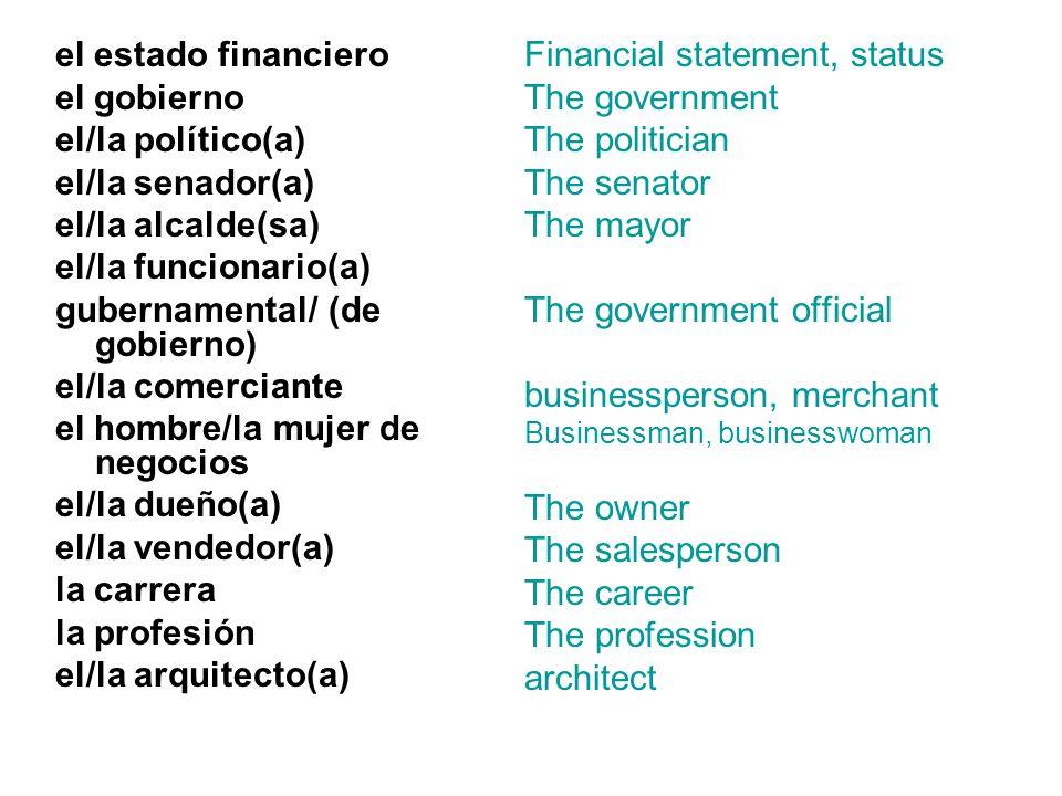 gubernamental/ (de gobierno) el/la comerciante