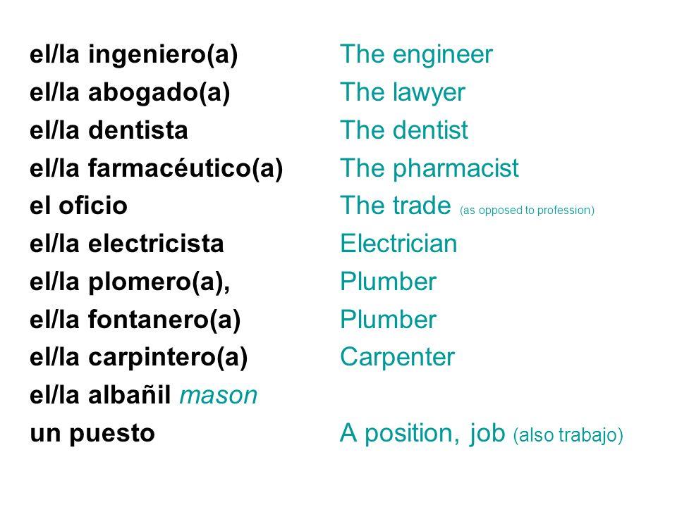 el/la ingeniero(a) el/la abogado(a) el/la dentista. el/la farmacéutico(a) el oficio. el/la electricista.