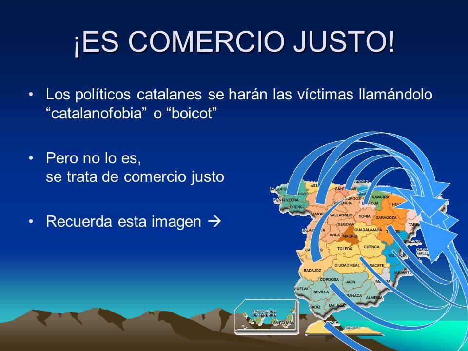 ¡ES COMERCIO JUSTO! Los políticos catalanes se harán las víctimas llamándolo catalanofobia o boicot