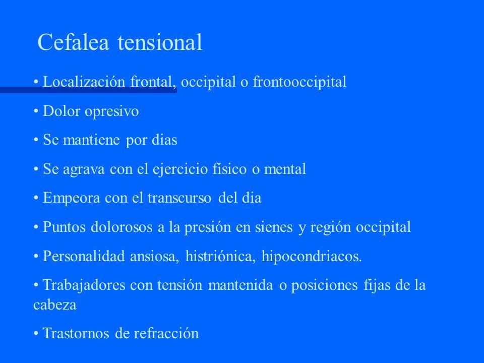 Cefalea tensional Localización frontal, occipital o frontooccipital