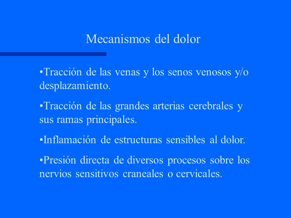 Mecanismos del dolor Tracción de las venas y los senos venosos y/o desplazamiento.