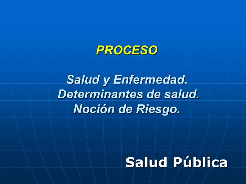 PROCESO Salud y Enfermedad. Determinantes de salud. Noción de Riesgo.