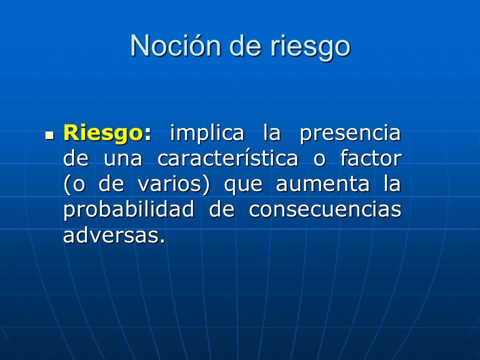 Noción de riesgo Riesgo: implica la presencia de una característica o factor (o de varios) que aumenta la probabilidad de consecuencias adversas.