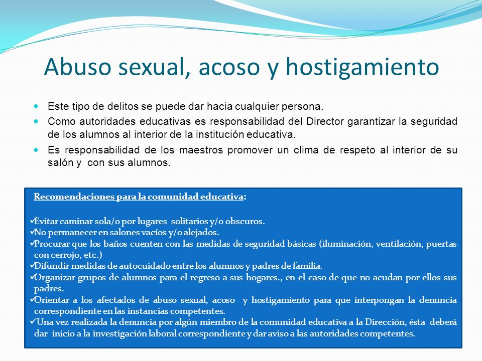 Abuso sexual, acoso y hostigamiento