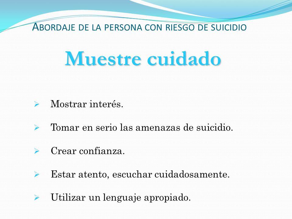 Abordaje de la persona con riesgo de suicidio