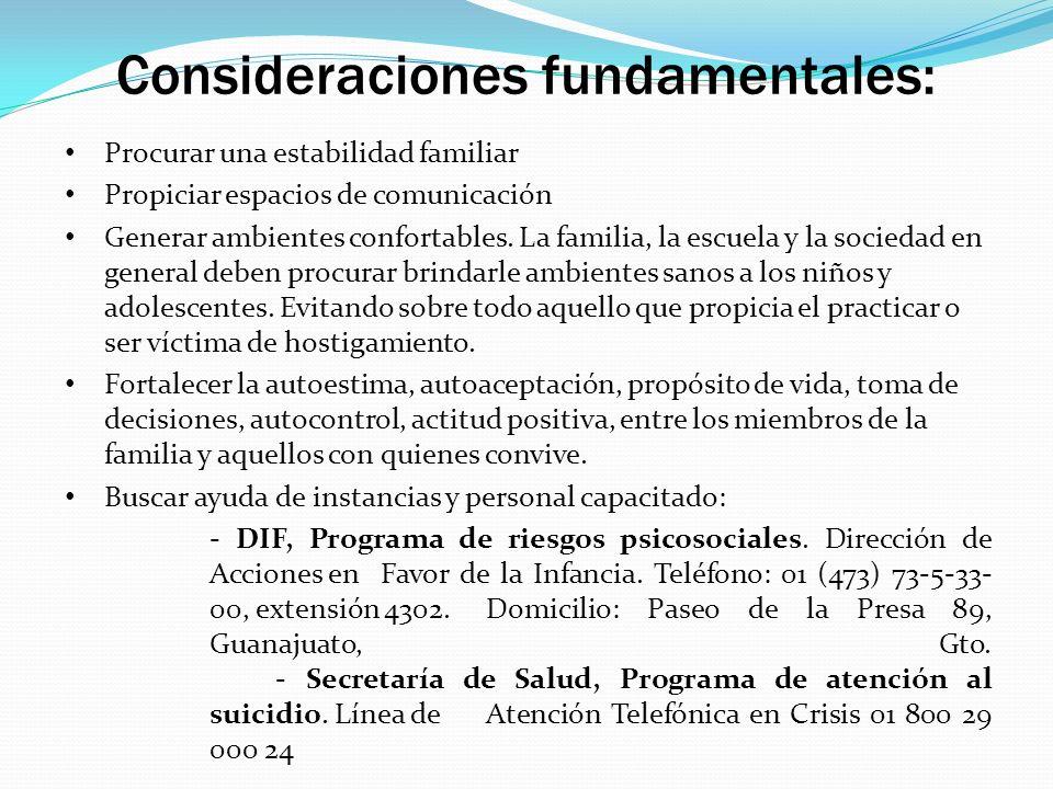 Consideraciones fundamentales: