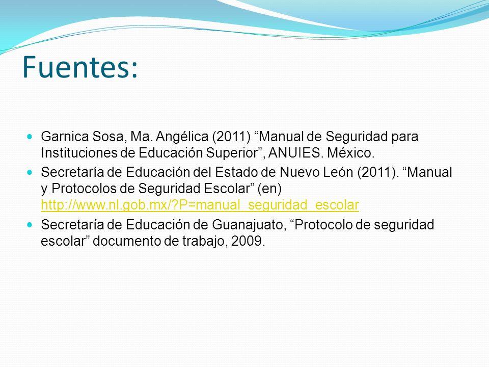 Fuentes: Garnica Sosa, Ma. Angélica (2011) Manual de Seguridad para Instituciones de Educación Superior , ANUIES. México.