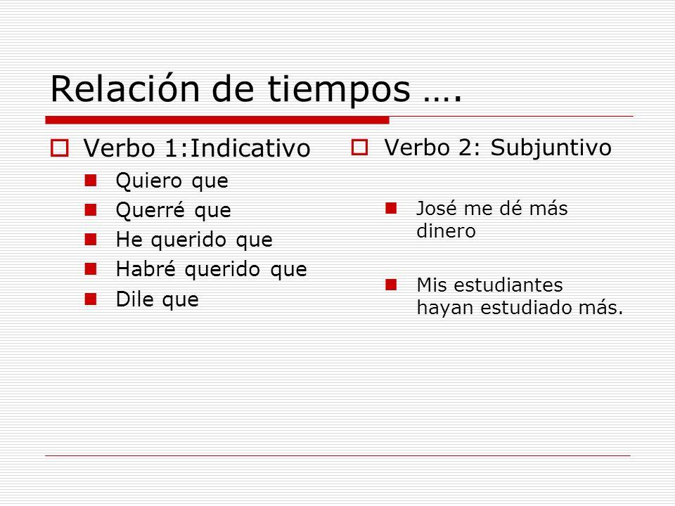 Relación de tiempos …. Verbo 1:Indicativo Verbo 2: Subjuntivo