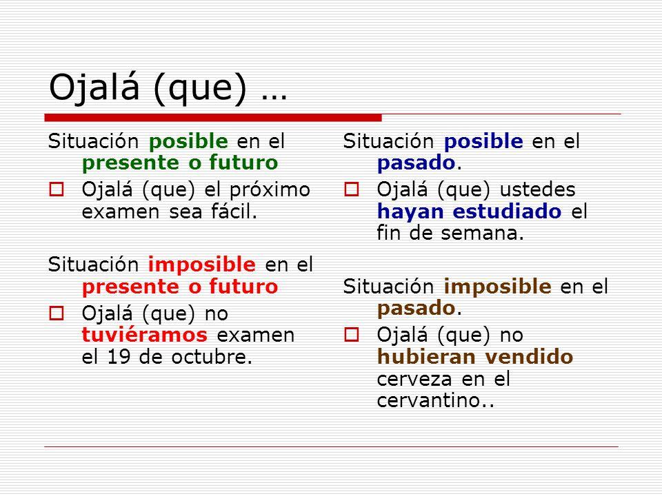 Ojalá (que) … Situación posible en el presente o futuro