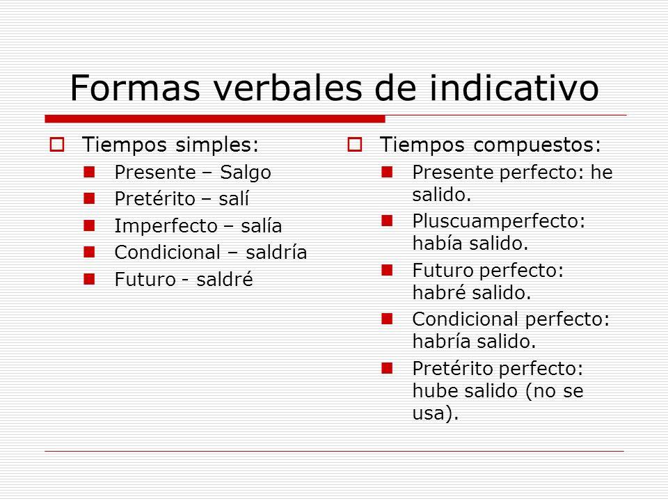 Formas verbales de indicativo