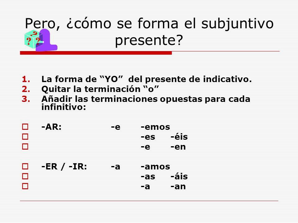 Pero, ¿cómo se forma el subjuntivo presente