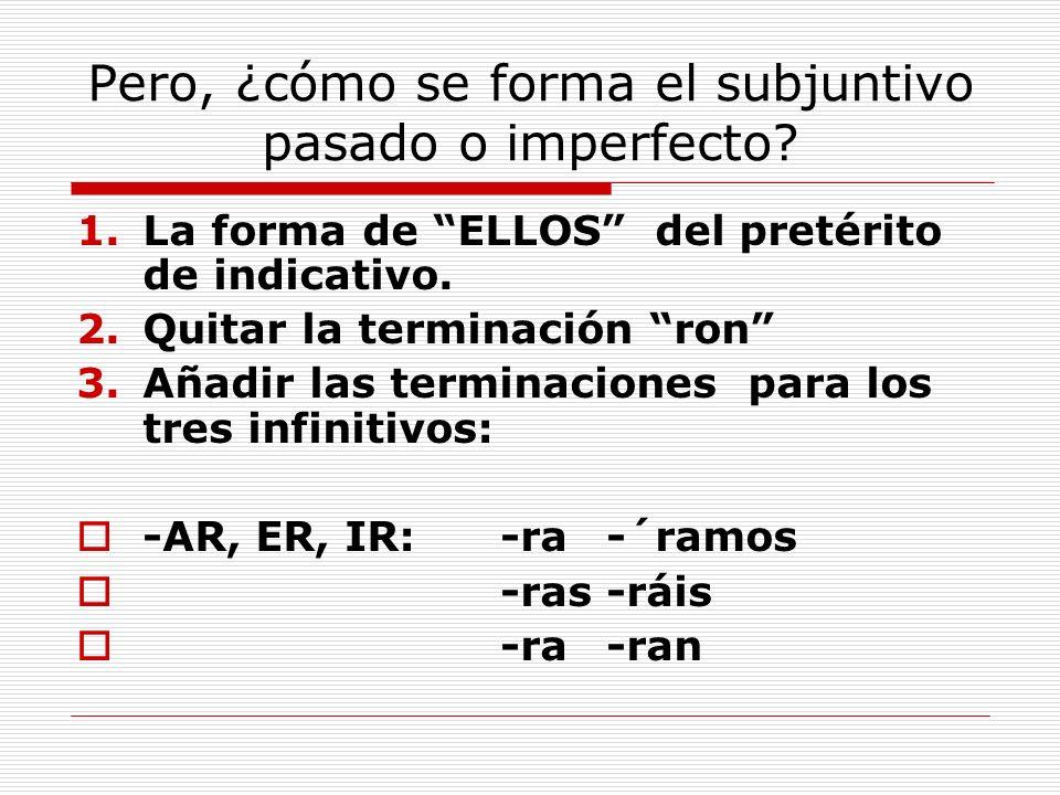 Pero, ¿cómo se forma el subjuntivo pasado o imperfecto