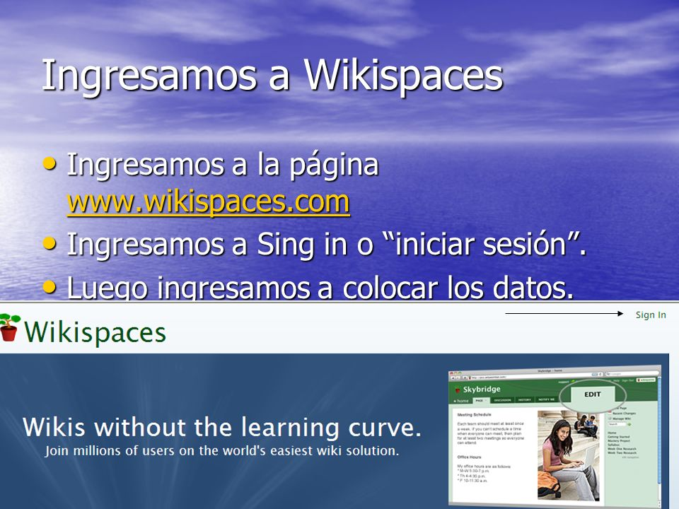 Ingresamos a Wikispaces
