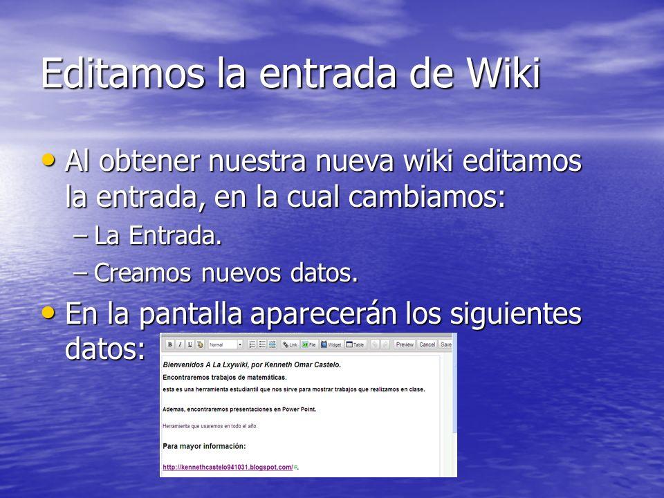 Editamos la entrada de Wiki
