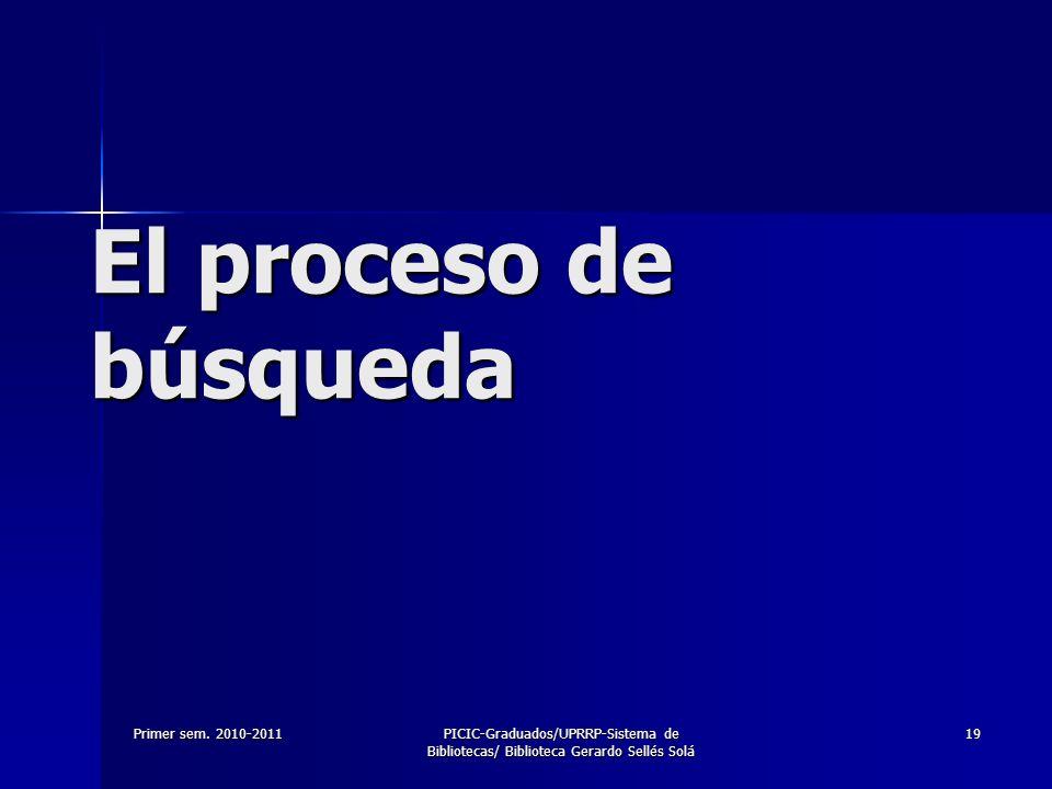 El proceso de búsqueda Primer sem. 2010-2011