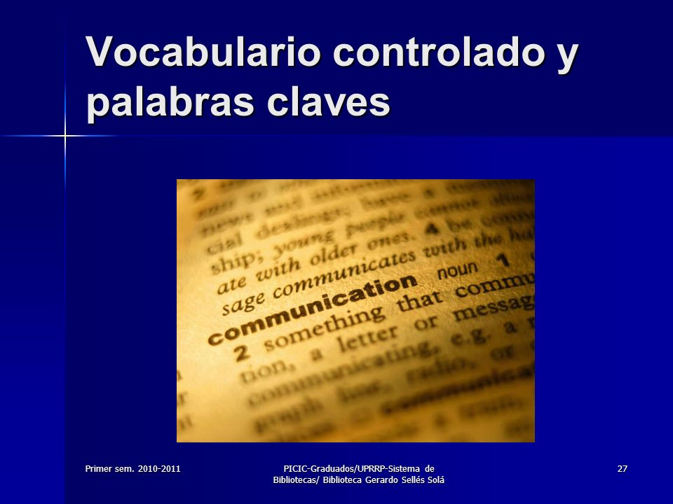 Vocabulario controlado y palabras claves