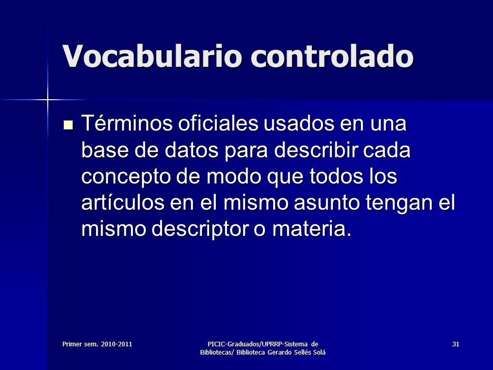 Vocabulario controlado