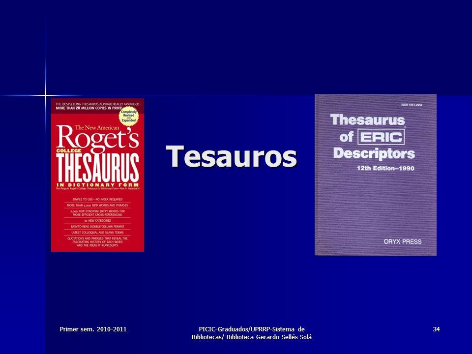 TesaurosPrimer sem.2010-2011.
