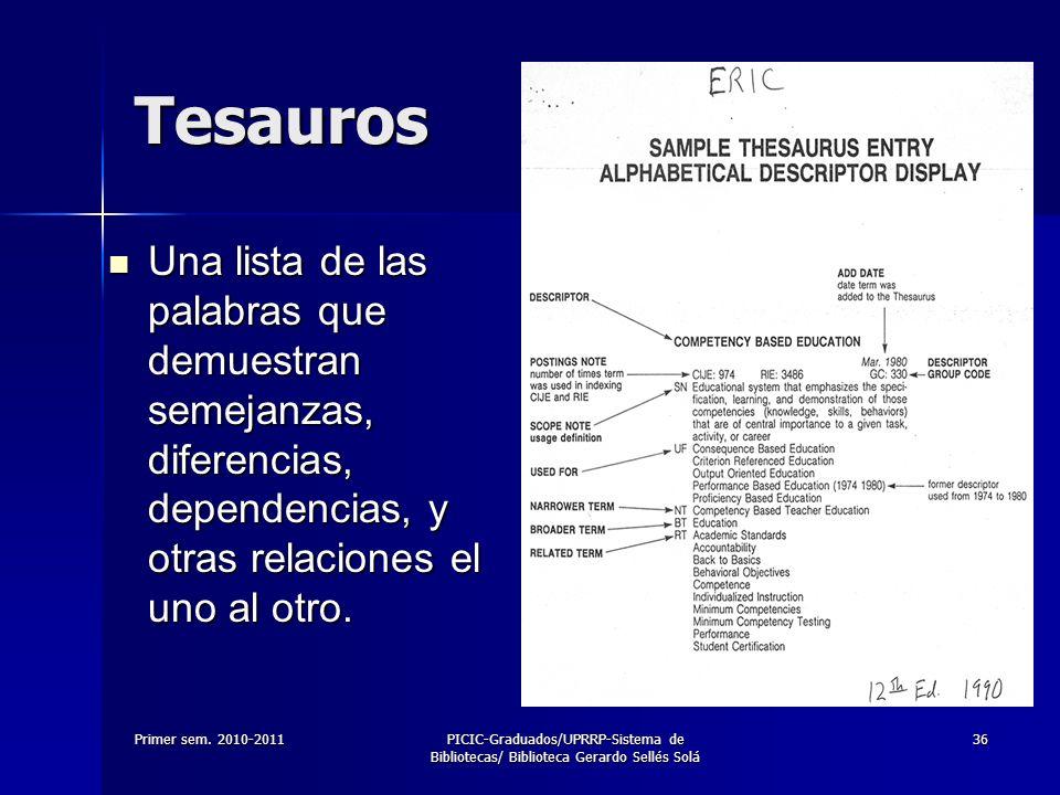 Tesauros Una lista de las palabras que demuestran semejanzas, diferencias, dependencias, y otras relaciones el uno al otro.