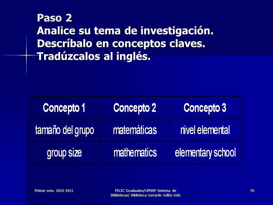 Paso 2 Analice su tema de investigación. Descríbalo en conceptos claves. Tradúzcalos al inglés.