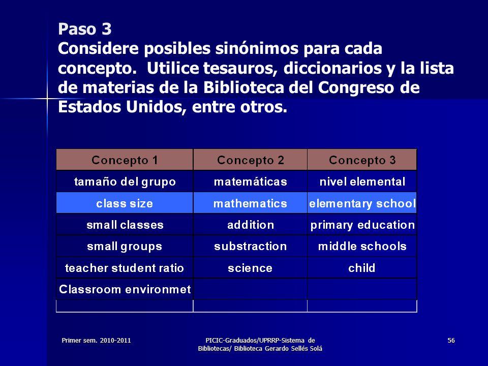 Paso 3 Considere posibles sinónimos para cada concepto