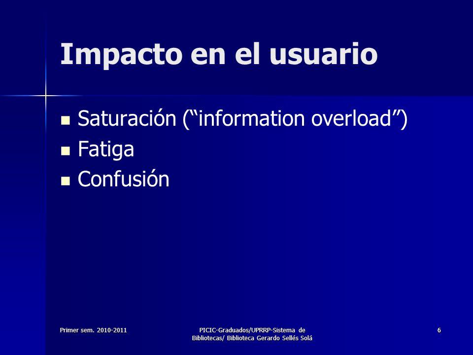 Impacto en el usuario Saturación ( information overload ) Fatiga
