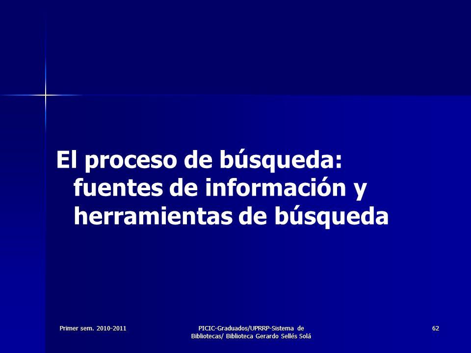 El proceso de búsqueda: fuentes de información y herramientas de búsqueda