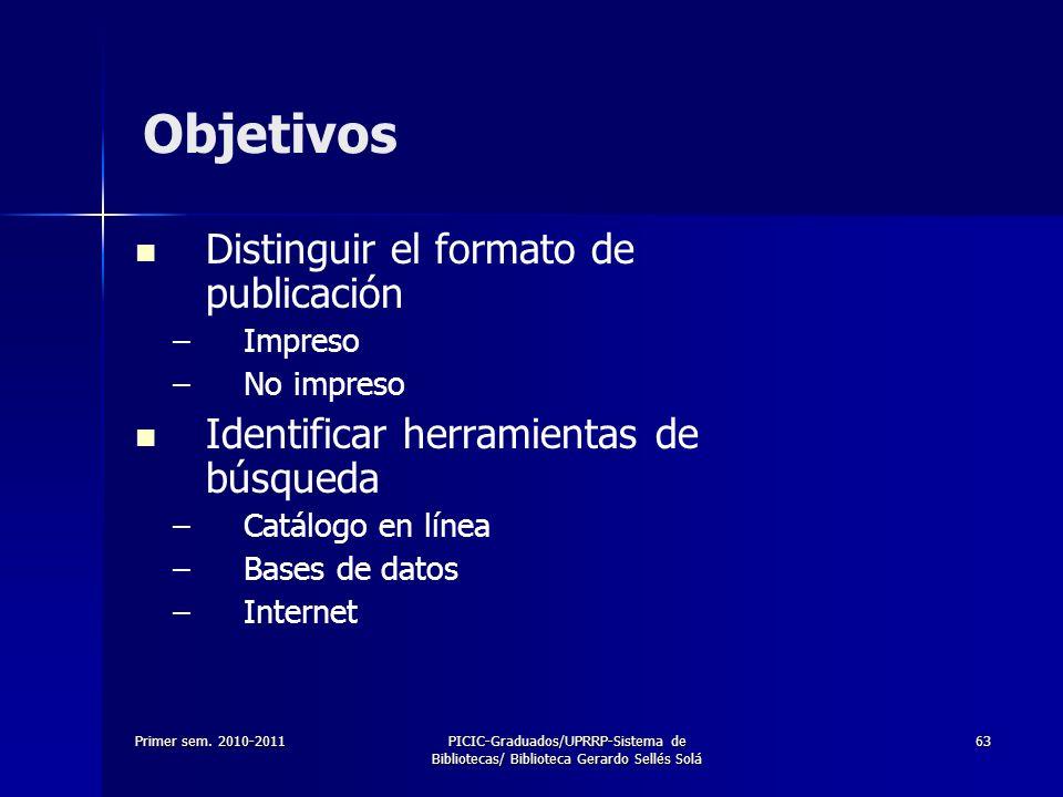 Objetivos Distinguir el formato de publicación
