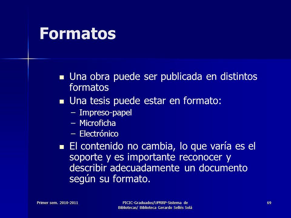 Formatos Una obra puede ser publicada en distintos formatos