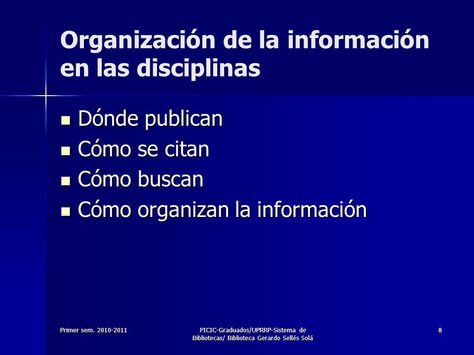 Organización de la información en las disciplinas