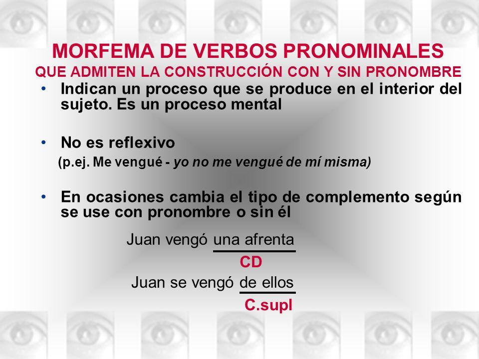 MORFEMA DE VERBOS PRONOMINALES QUE ADMITEN LA CONSTRUCCIÓN CON Y SIN PRONOMBRE