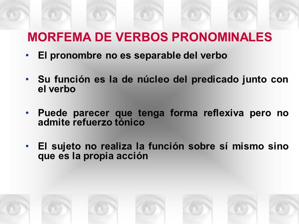 MORFEMA DE VERBOS PRONOMINALES