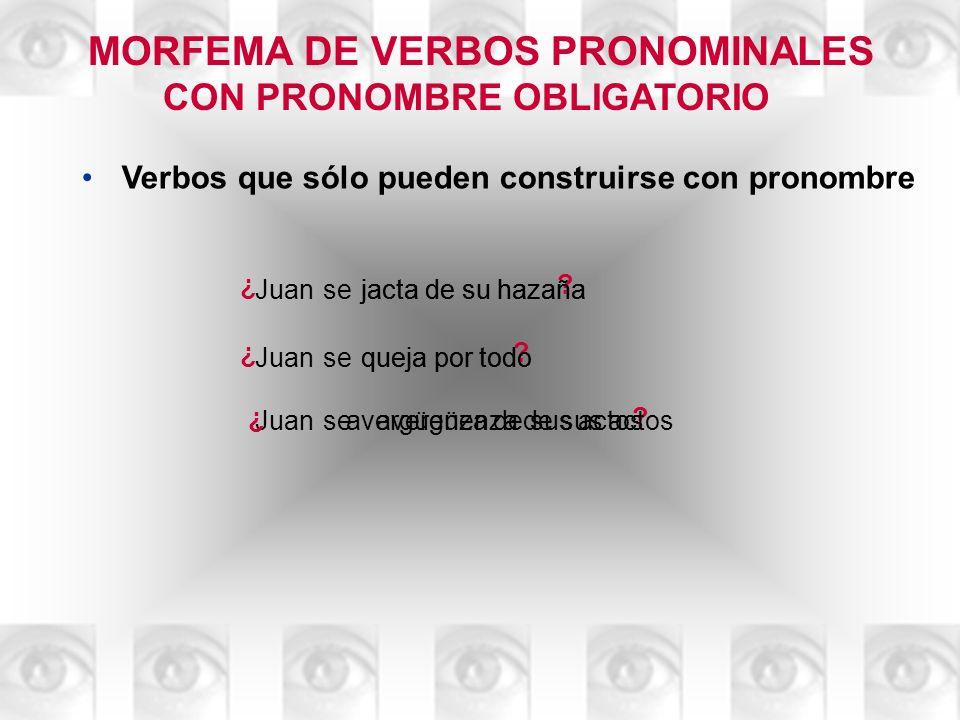 MORFEMA DE VERBOS PRONOMINALES CON PRONOMBRE OBLIGATORIO