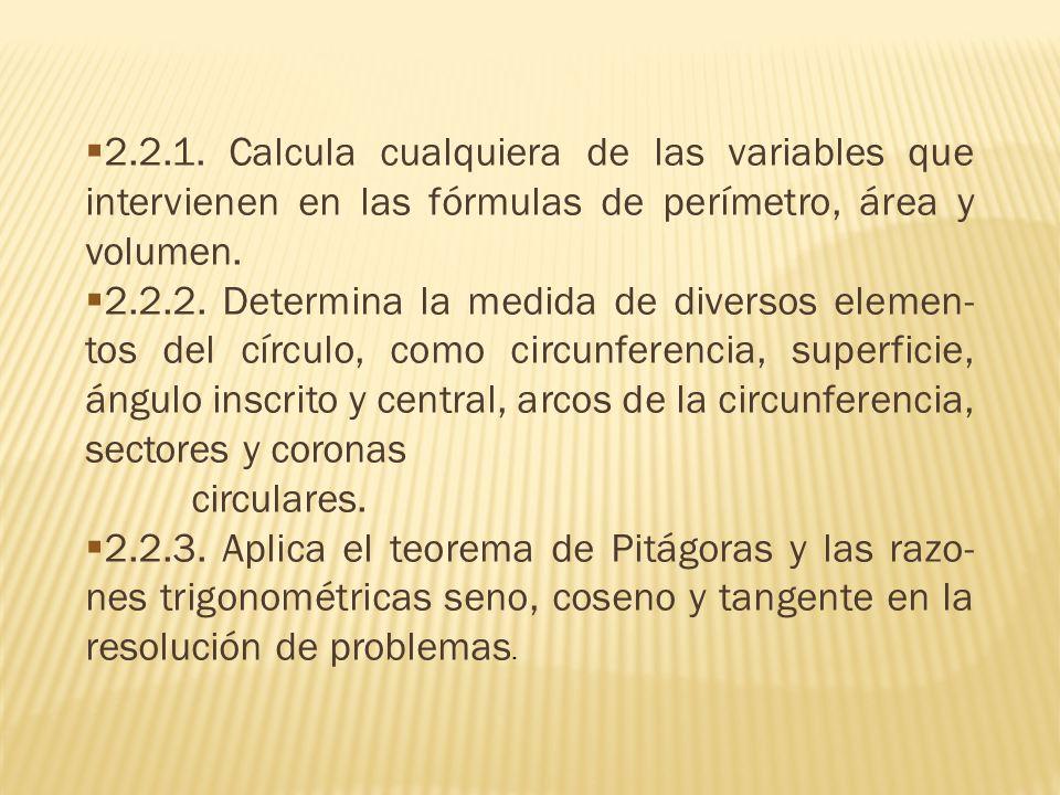 2.2.1. Calcula cualquiera de las variables que intervienen en las fórmulas de perímetro, área y volumen.
