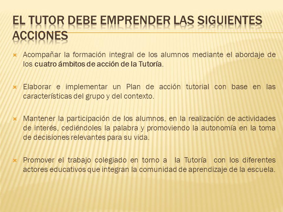 EL TUTOR DEBE EMPRENDER LAS SIGUIENTES ACCIONES