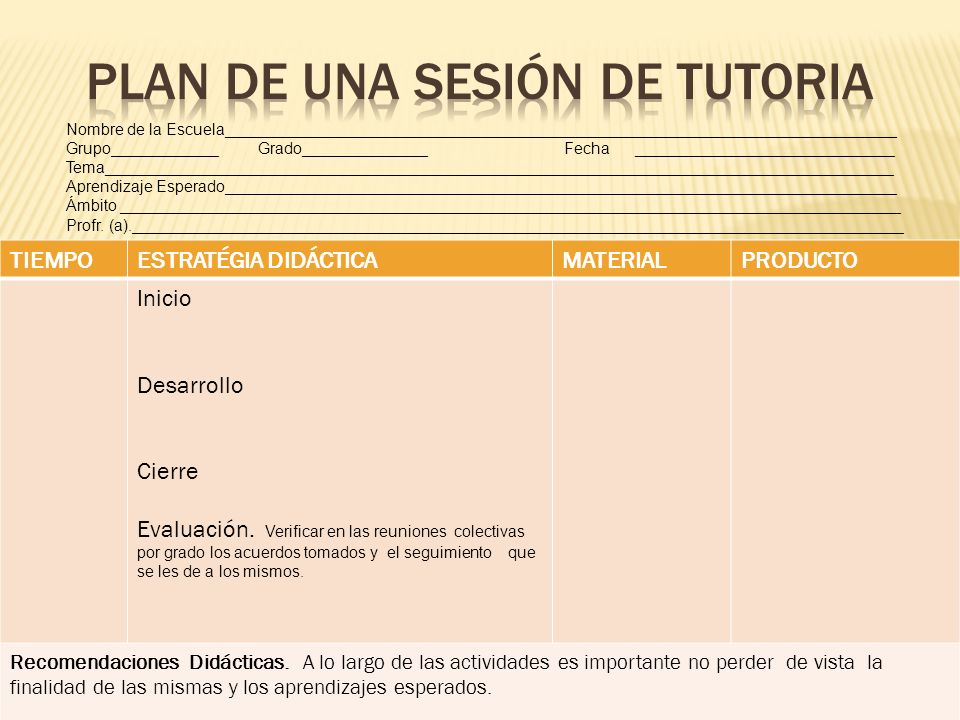 PLAN DE UNA SESIÓN DE TUTORIA