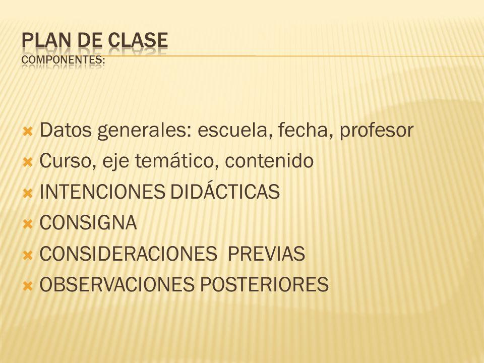 PLAN DE CLASE COMPONENTES: