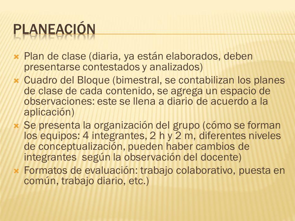 PLANEACIÓN Plan de clase (diaria, ya están elaborados, deben presentarse contestados y analizados)