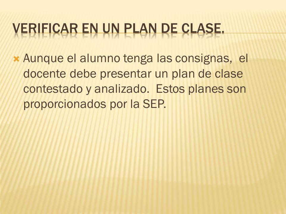 Verificar en un plan de clase.