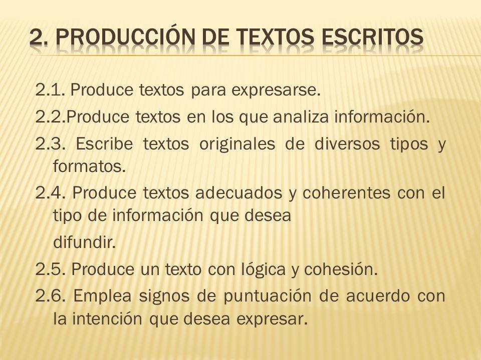 2. Producción de textos escritos